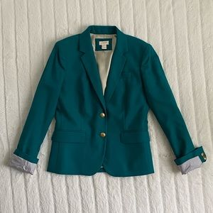 J. Crew Teal Fitted Blazer w/ Buttons